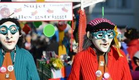De heksen van Waggis met blauwe glazen Carnaval Bazel 2013 Stock Afbeeldingen