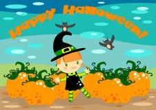De heksenkaart van Halloween Royalty-vrije Stock Afbeelding