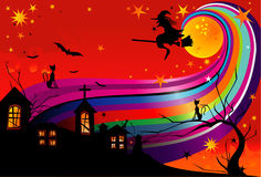 De heksenvector van Halloween Stock Foto