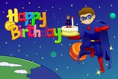 De held brengt verjaardagscake aan kosmische ruimte Stock Afbeelding