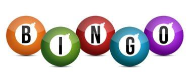 De helder gekleurde illustratie van bingoballen Stock Afbeelding