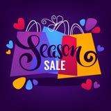 De heldere achtergrond van de seizoenverkoop, met het winkelen zakken en het van letters voorzien stock illustratie