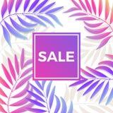 De heldere affiche van de de zomerverkoop met palmbladen op achtergrond vector illustratie