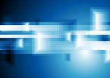 De heldere blauwe achtergrond van technologie geometrische vierkanten Stock Afbeelding