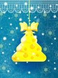 De heldere blauwe kaart van de Kerstmisgroet Stock Foto