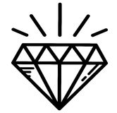 De heldere diamant van de luxetatoegering Stock Afbeelding