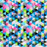 De heldere gekleurde veelhoeken vatten psychedelische geometrische achtergrond samen Grungeeffect Stock Afbeeldingen