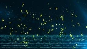 De heldere gele gloeiende crypto regen van muntstuksymbolen op dollar en euro gegevensstroom royalty-vrije illustratie