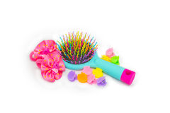 De heldere haarborstel van de kinderen` s Massage met haarspelden het is Royalty-vrije Stock Foto's