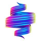 De heldere holografische abstracte spiraal verdraaide slag van de vorm 3D borstel vector illustratie