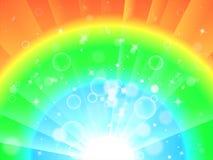 De heldere Kleurrijke Achtergrond betekent Gloeiende Regenboog of het Fonkelen W Royalty-vrije Stock Foto's