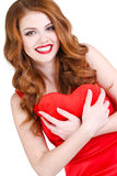 De heldere mooie vrouw op St Valentine Dag Royalty-vrije Stock Foto's