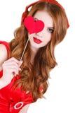 De heldere mooie vrouw op St Valentine Dag Royalty-vrije Stock Afbeelding