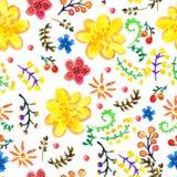 De heldere Naadloze bloemenachtergrond van de waterverfkleur Royalty-vrije Stock Foto
