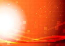 De heldere oranje achtergrond van de voorzien van een netwerk lichte golf Royalty-vrije Stock Fotografie