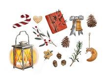 De heldere reeks van waterverf Vrolijke Kerstmis traditionele decor en elementen Lamp, decoratie, koekjes, cacao, giften, koffie vector illustratie