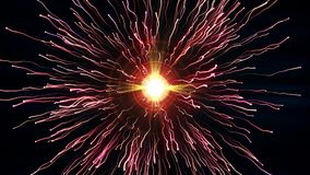 De heldere rode deeltjes met stromen komen in botsing en leiden tot explosie met slepen royalty-vrije illustratie