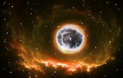De heldere ster in het centrum van de nevel Royalty-vrije Stock Afbeeldingen