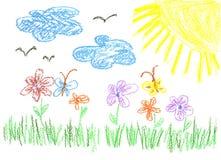 De heldere tekening van het kind Stock Afbeeldingen