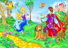De heldin en de prins van het sprookje Stock Afbeelding