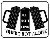De hele nacht bent u niet alleen Stock Illustratie