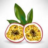 De helft van hartstochtsfruit met blad Stock Afbeelding
