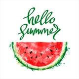 De helft van plak van watermeloen op witte achtergrond Inschrijvingshel vector illustratie
