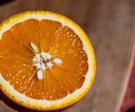 De helft van sappige Zonnige sinaasappel stock afbeelding