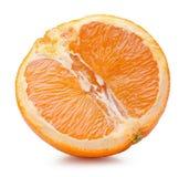De helft van sinaasappel op een witte achtergrond Stock Foto's