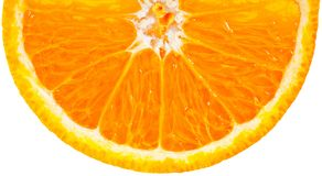 De helft van sinaasappel over wit stock afbeelding
