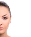 De helft van vrouwelijk gezicht stock foto