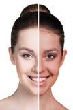 De helft van vrouwelijk gezicht met tan royalty-vrije stock afbeeldingen