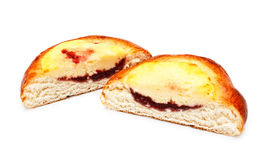 De Helften van de pastei met het Vullen van de Kwark stock afbeelding