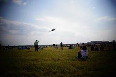De helikopter in de hemel Stock Foto's