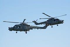 De helikopters van de Lynx van Westland in strakke vorming Stock Foto
