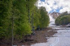 De helling van de berg, bomen, lift royalty-vrije stock afbeelding