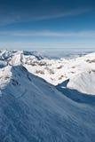 De helling van de ski in bergen Chamonix royalty-vrije stock fotografie