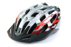 De helm van de bergfiets, op witte achtergrond wordt geïsoleerd die Stock Afbeelding