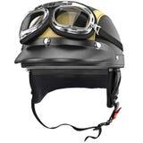 De helm van de fietsermotorfiets met beschermende brillen retro stijl Stock Foto's