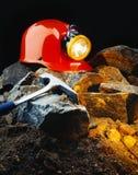 De helm van de mijnwerker stock foto's