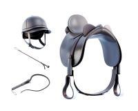 De helm, zadel, ranselt voor geïsoleerd berijden op witte achtergrond 3d vector illustratie