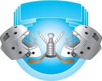 De helmen van het hockey op blauwe achtergrond Royalty-vrije Illustratie
