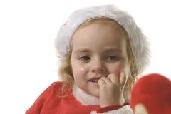 De helper van de kerstman bijt zijn spijkers Royalty-vrije Stock Fotografie