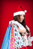 De helper van de kerstman in het winkelen royalty-vrije stock foto's