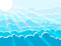 De hemel is bewolkt in de zon glanst in de richting Vector graphhics De wolken zijn blauw met een mooie schaduw royalty-vrije illustratie