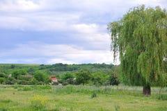 De hemel boven de weide en de plattelandshuisjes. Stock Afbeelding