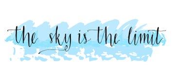 De hemel is de grens Inspirational uitdrukking bij blauw Stock Foto