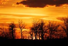 De hemel en de wolken van de zonsondergang stock foto