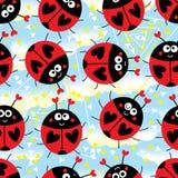 De hemel naadloos patroon van de lieveheersbeestje hoofd bizar leuk driehoek vector illustratie