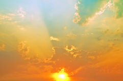 De hemel van de avondzonsondergang Stock Fotografie